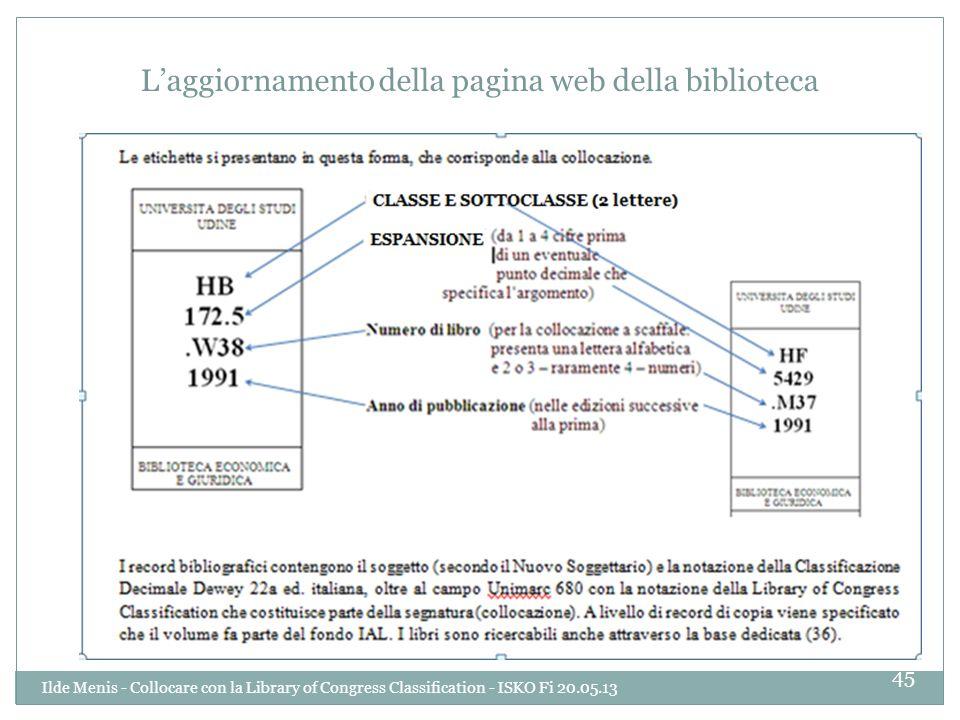 L'aggiornamento della pagina web della biblioteca