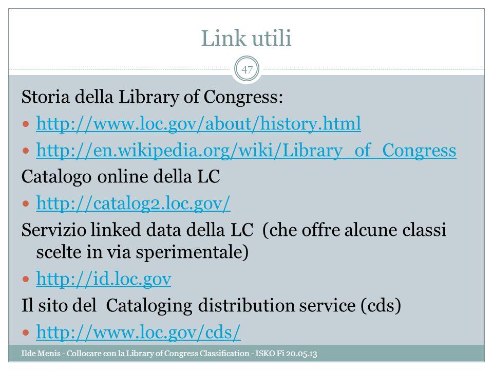 Link utili Storia della Library of Congress: