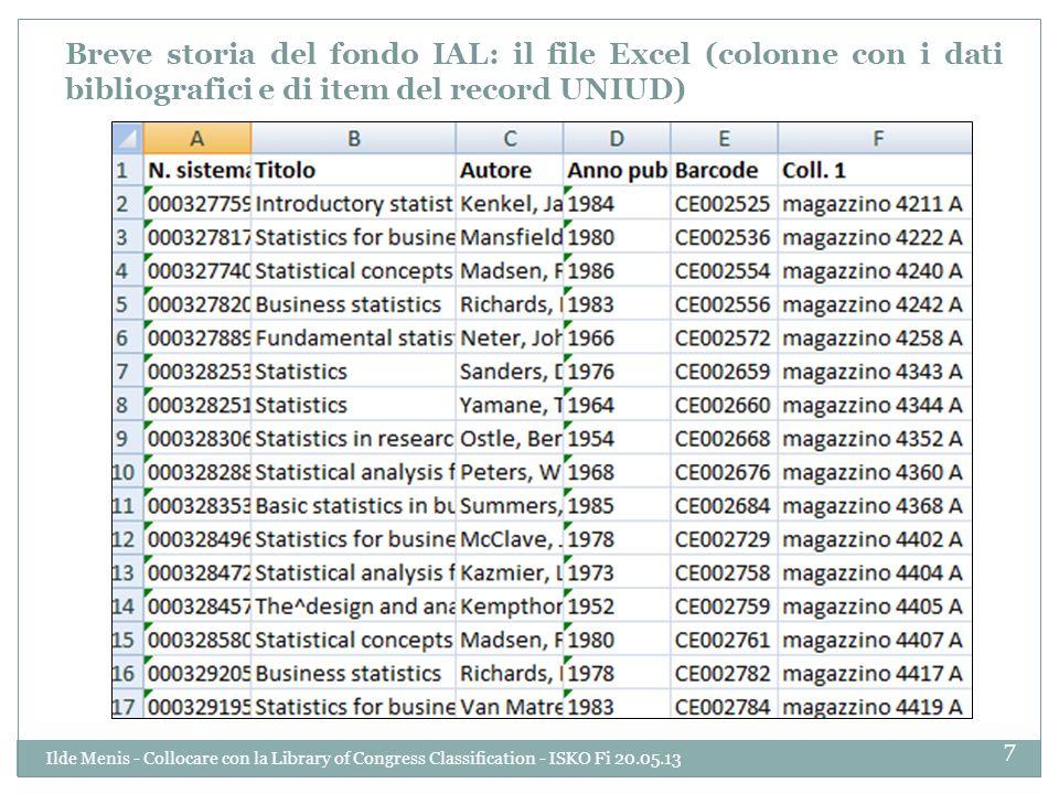 Breve storia del fondo IAL: il file Excel (colonne con i dati bibliografici e di item del record UNIUD)