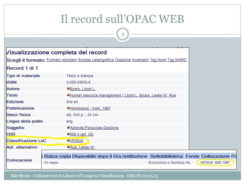 Il record sull'OPAC WEB