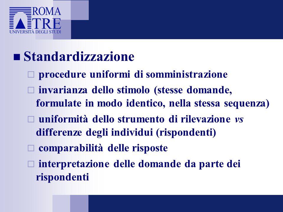 Standardizzazione procedure uniformi di somministrazione