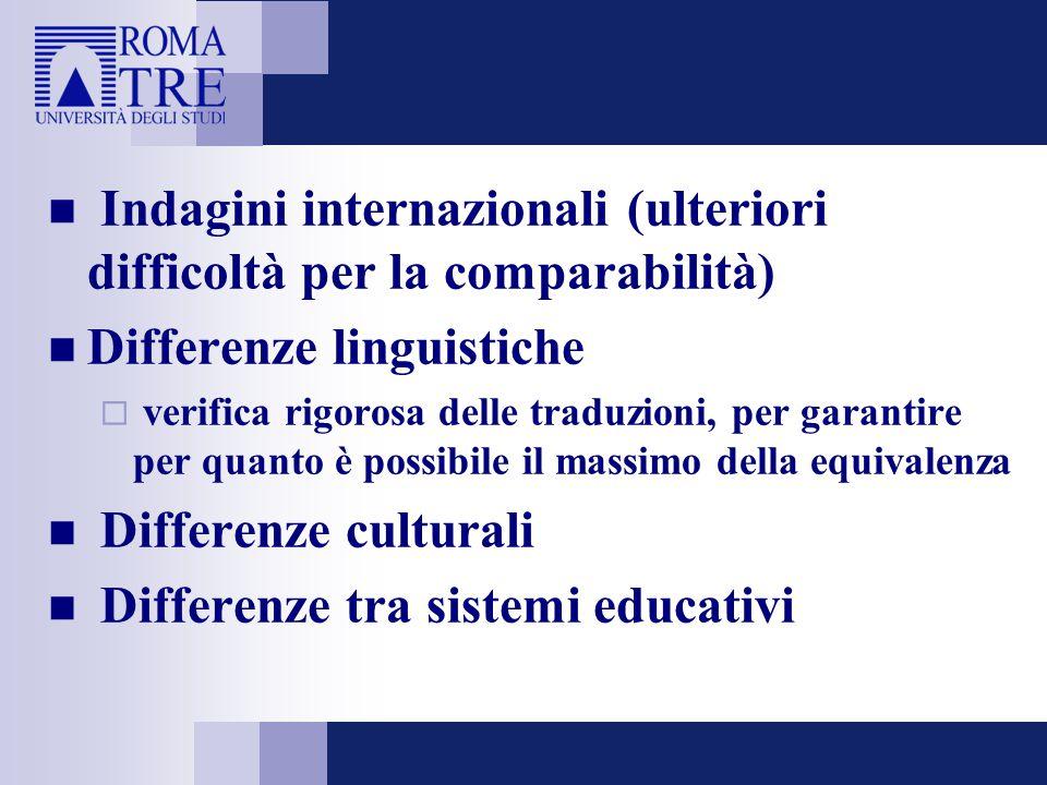 Indagini internazionali (ulteriori difficoltà per la comparabilità)