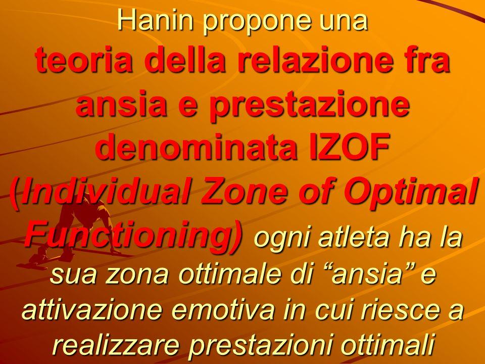 Hanin propone una teoria della relazione fra ansia e prestazione denominata IZOF (Individual Zone of Optimal Functioning) ogni atleta ha la sua zona ottimale di ansia e attivazione emotiva in cui riesce a realizzare prestazioni ottimali