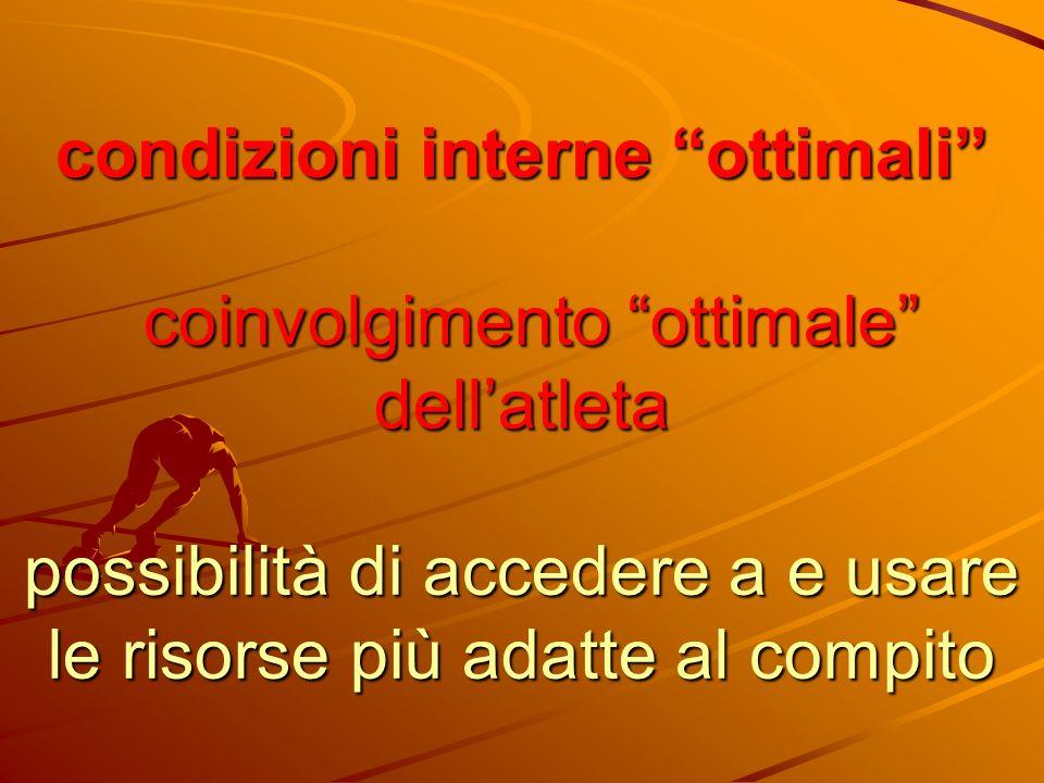 condizioni interne ottimali coinvolgimento ottimale dell'atleta possibilità di accedere a e usare le risorse più adatte al compito