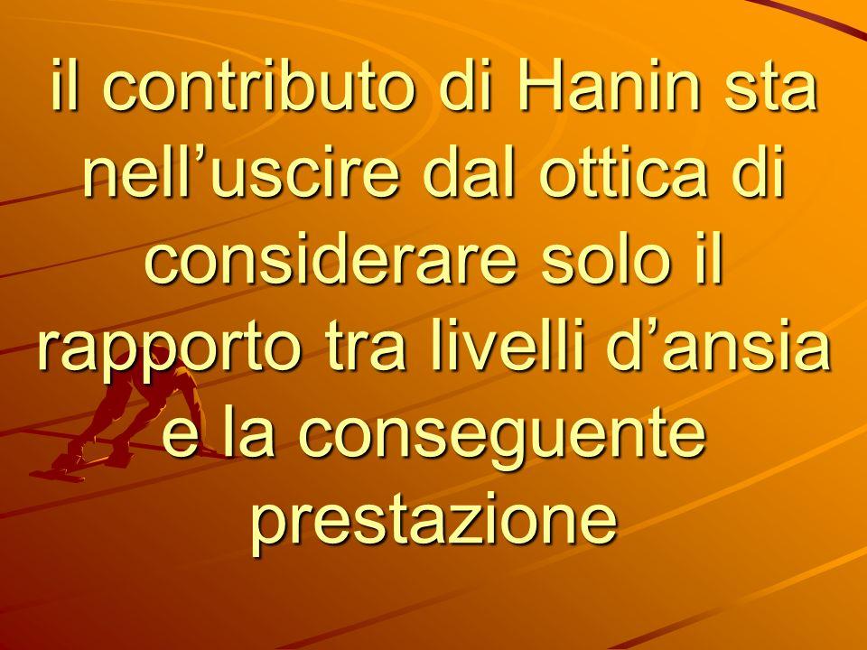 il contributo di Hanin sta nell'uscire dal ottica di considerare solo il rapporto tra livelli d'ansia e la conseguente prestazione