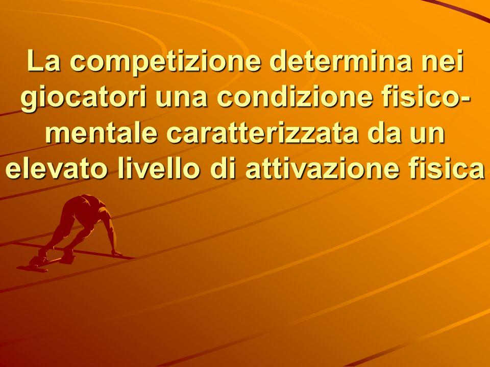 La competizione determina nei giocatori una condizione fisico-mentale caratterizzata da un elevato livello di attivazione fisica