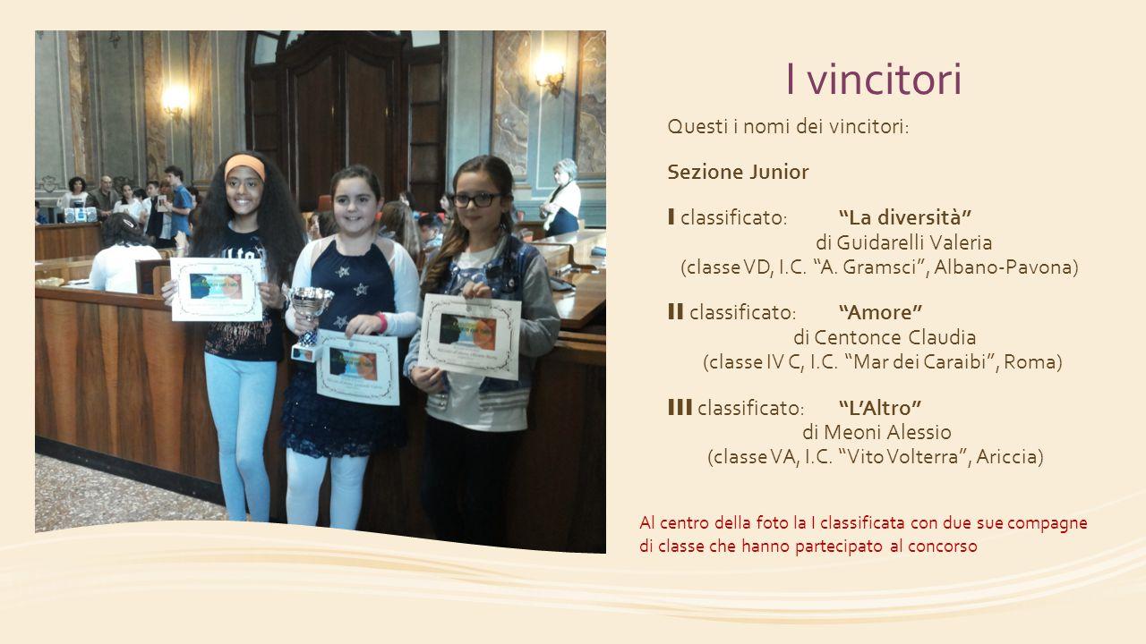 I vincitori Questi i nomi dei vincitori: Sezione Junior
