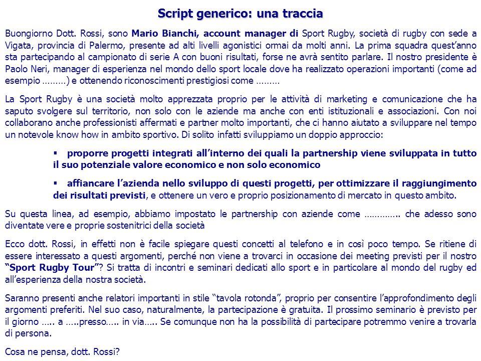 Script generico: una traccia