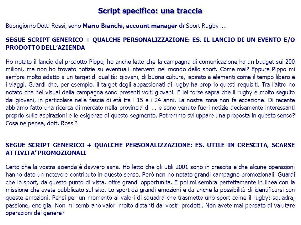 Script specifico: una traccia
