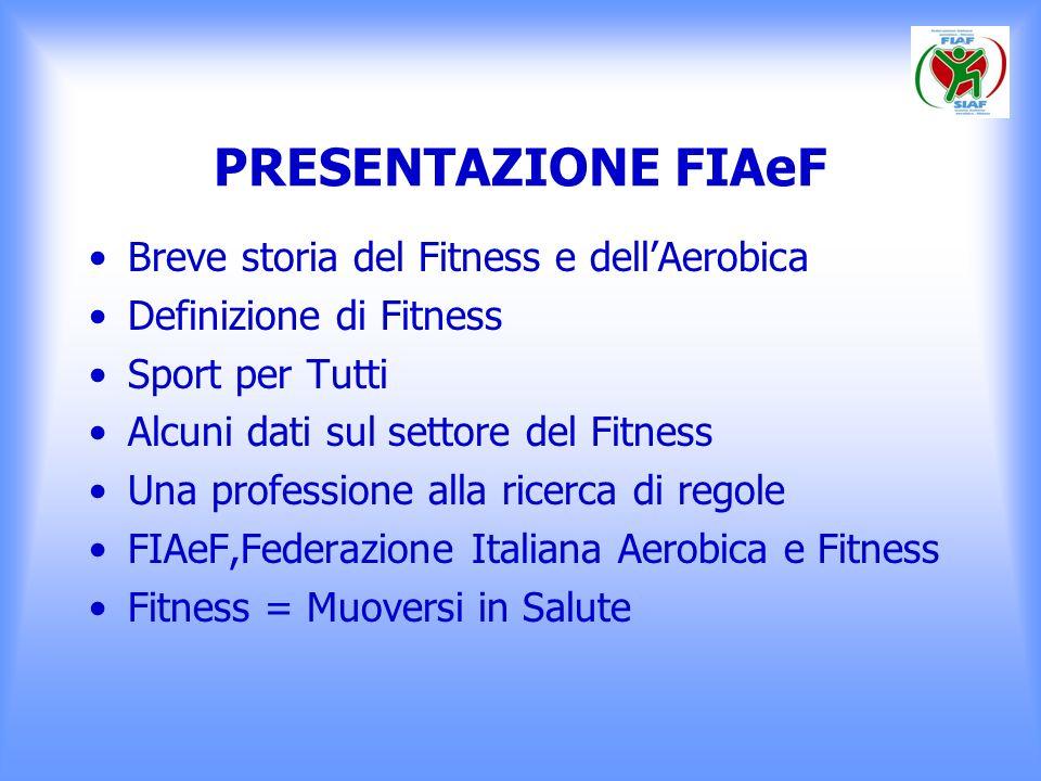 PRESENTAZIONE FIAeF Breve storia del Fitness e dell'Aerobica