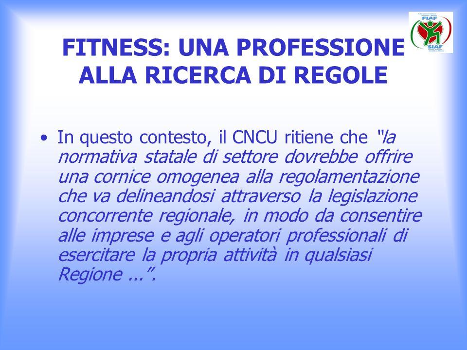 FITNESS: UNA PROFESSIONE ALLA RICERCA DI REGOLE