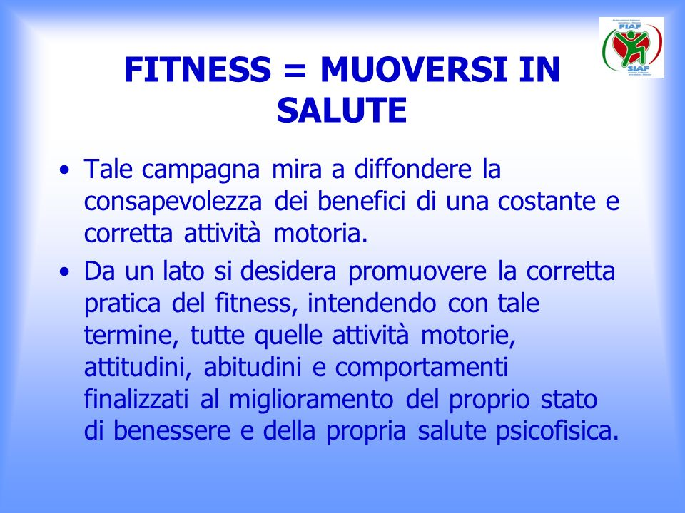 FITNESS = MUOVERSI IN SALUTE