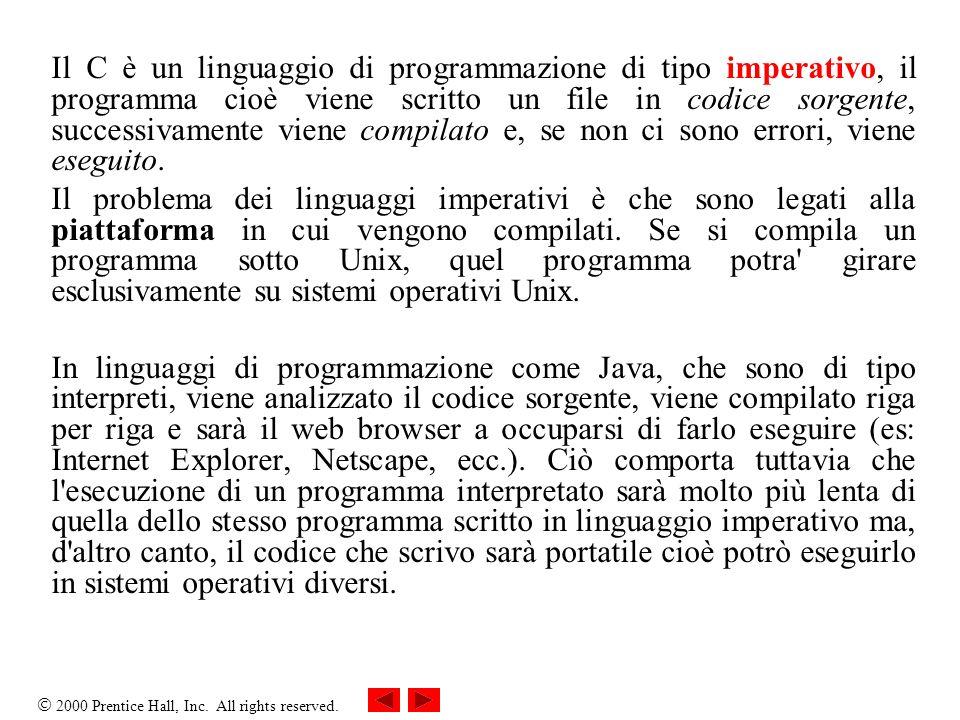 Il C è un linguaggio di programmazione di tipo imperativo, il programma cioè viene scritto un file in codice sorgente, successivamente viene compilato e, se non ci sono errori, viene eseguito.