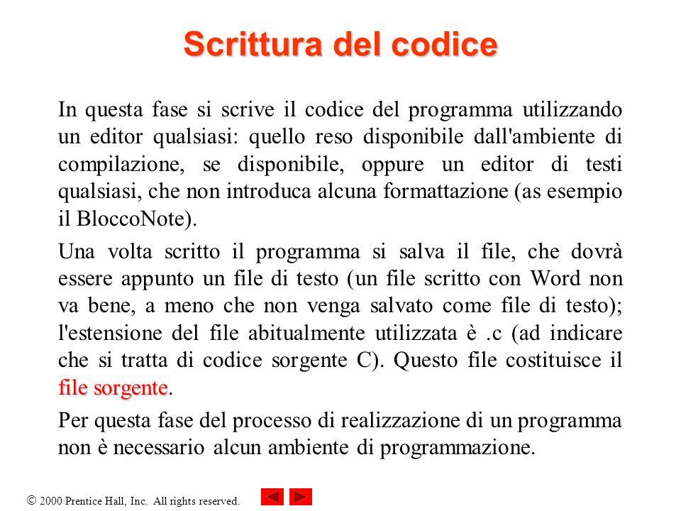 Scrittura del codice
