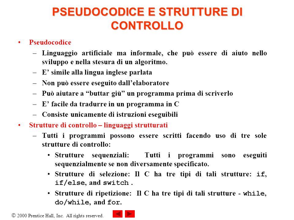 PSEUDOCODICE E STRUTTURE DI CONTROLLO
