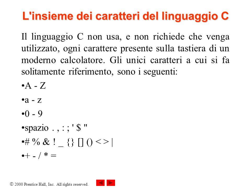 L insieme dei caratteri del linguaggio C