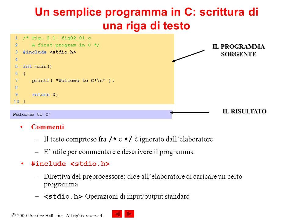 Un semplice programma in C: scrittura di una riga di testo