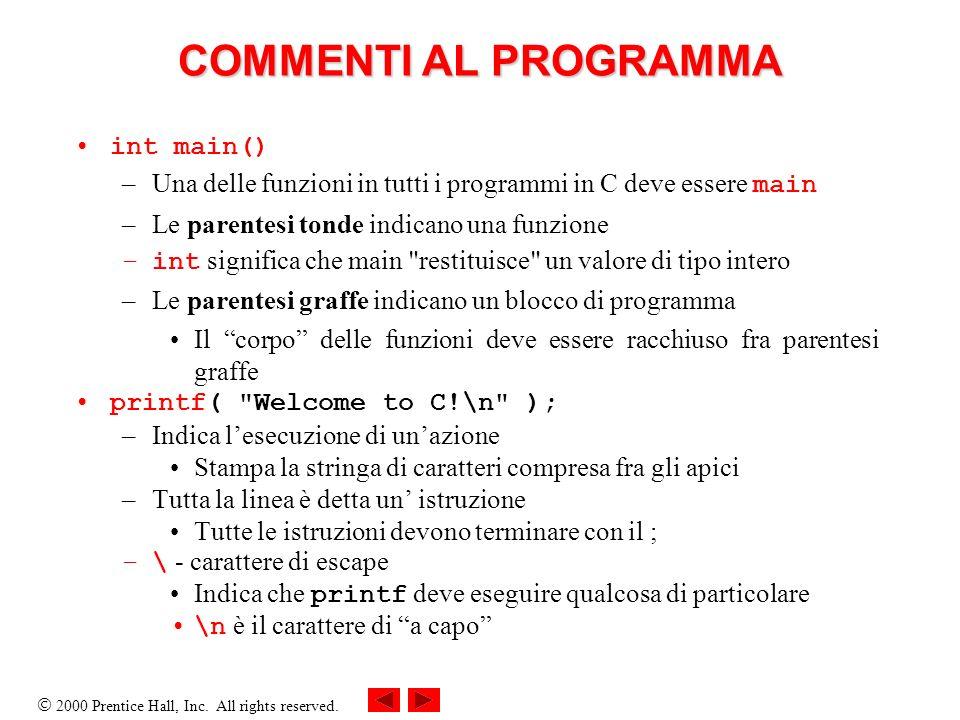 COMMENTI AL PROGRAMMA int main()