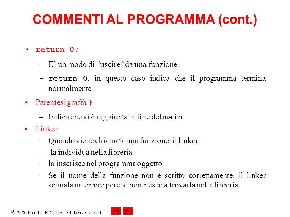COMMENTI AL PROGRAMMA (cont.)
