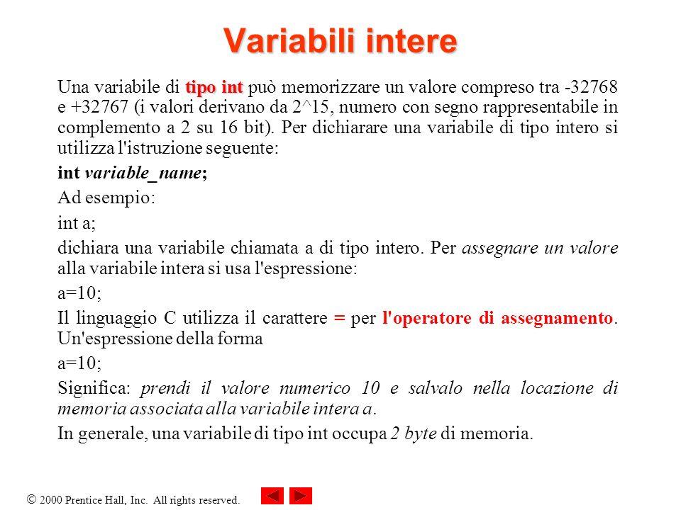 Variabili intere