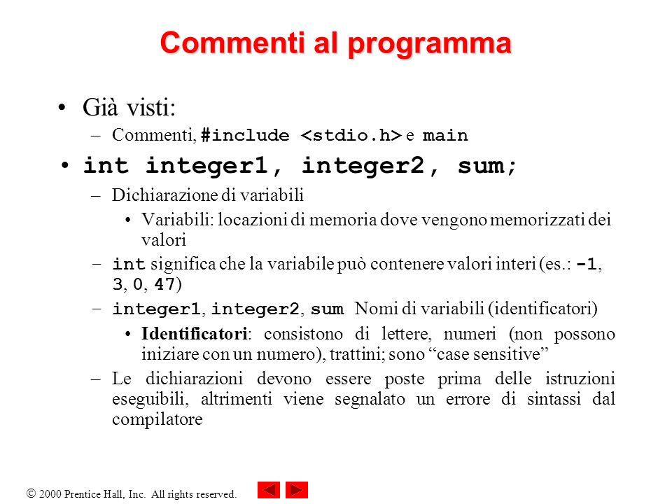 Commenti al programma Già visti: int integer1, integer2, sum;
