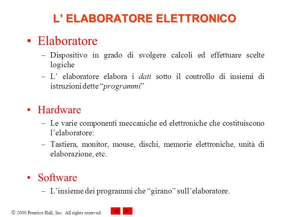 L' ELABORATORE ELETTRONICO