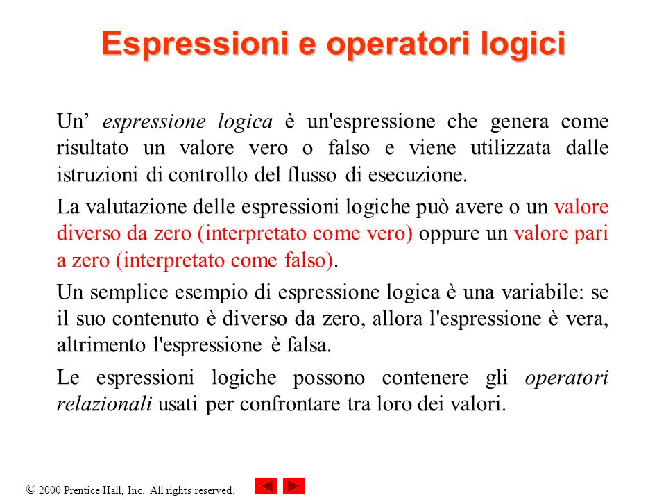 Espressioni e operatori logici