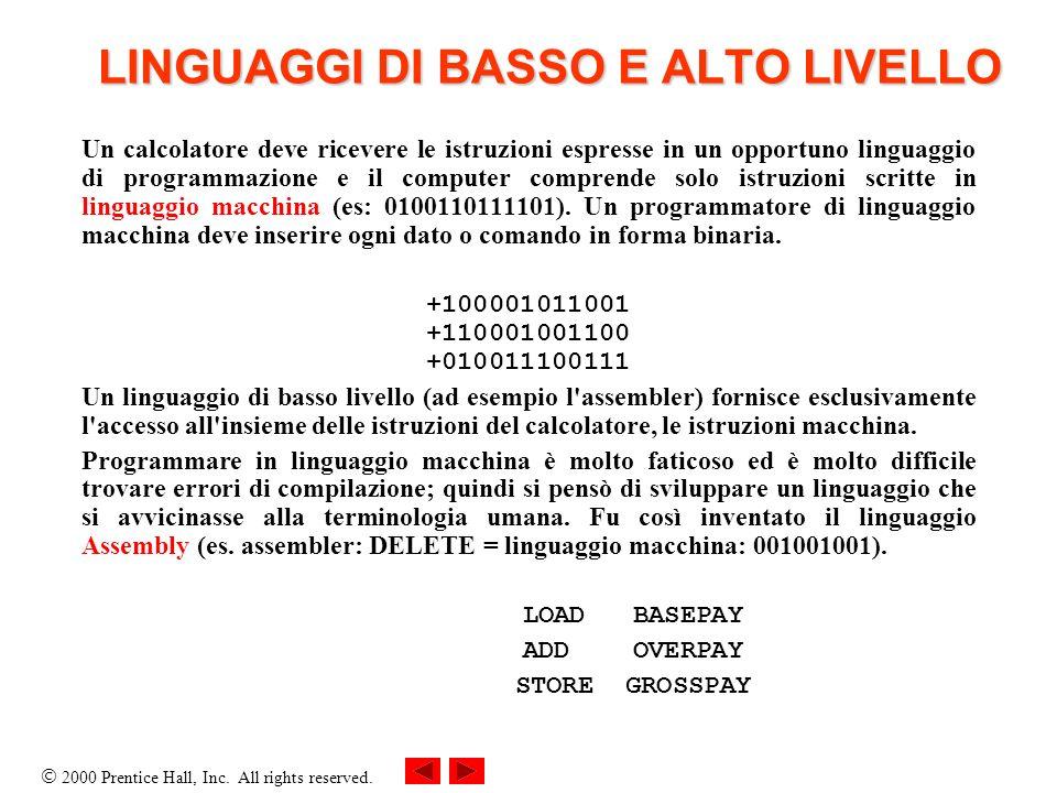 LINGUAGGI DI BASSO E ALTO LIVELLO