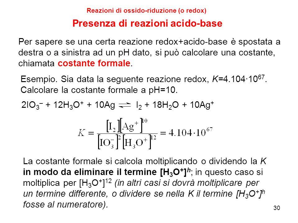 Reazioni di ossido-riduzione (o redox) Presenza di reazioni acido-base