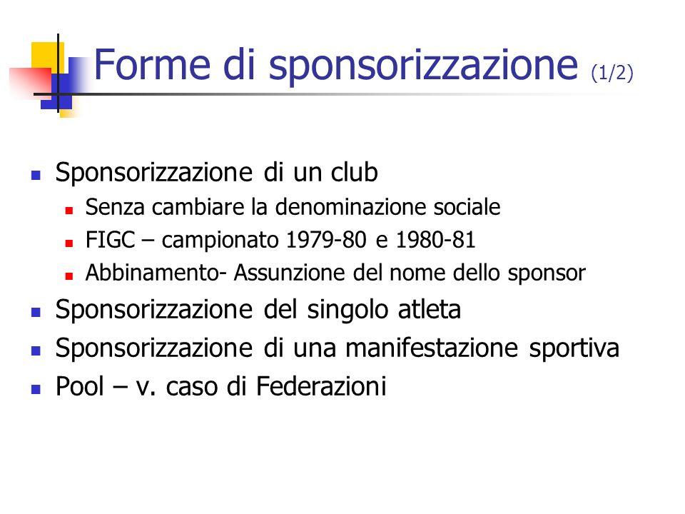 Forme di sponsorizzazione (1/2)