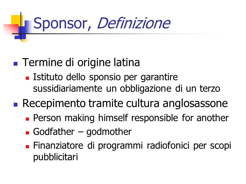 Sponsor, Definizione Termine di origine latina