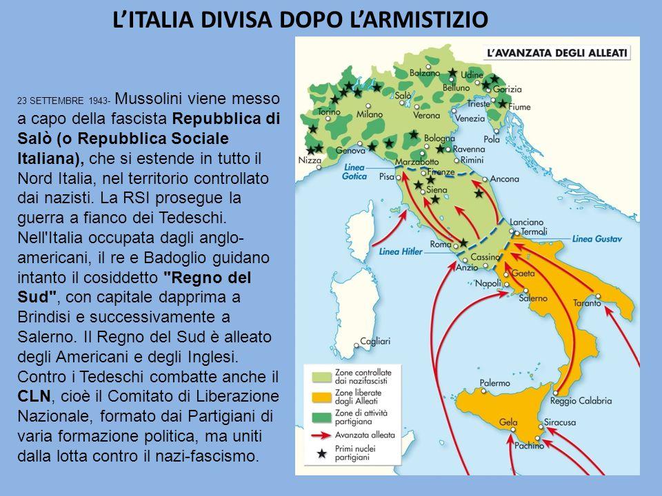 L'ITALIA DIVISA DOPO L'ARMISTIZIO