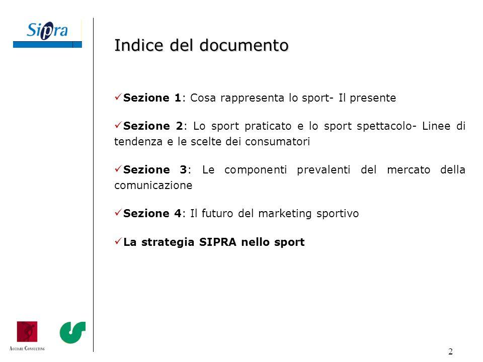 Indice del documento Sezione 1: Cosa rappresenta lo sport- Il presente