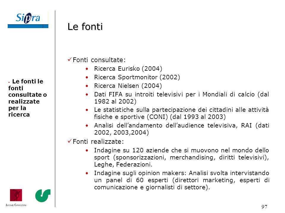Le fonti Fonti consultate: Fonti realizzate: Ricerca Eurisko (2004)