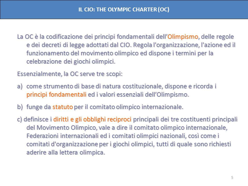 IL CIO: THE OLYMPIC CHARTER (OC)