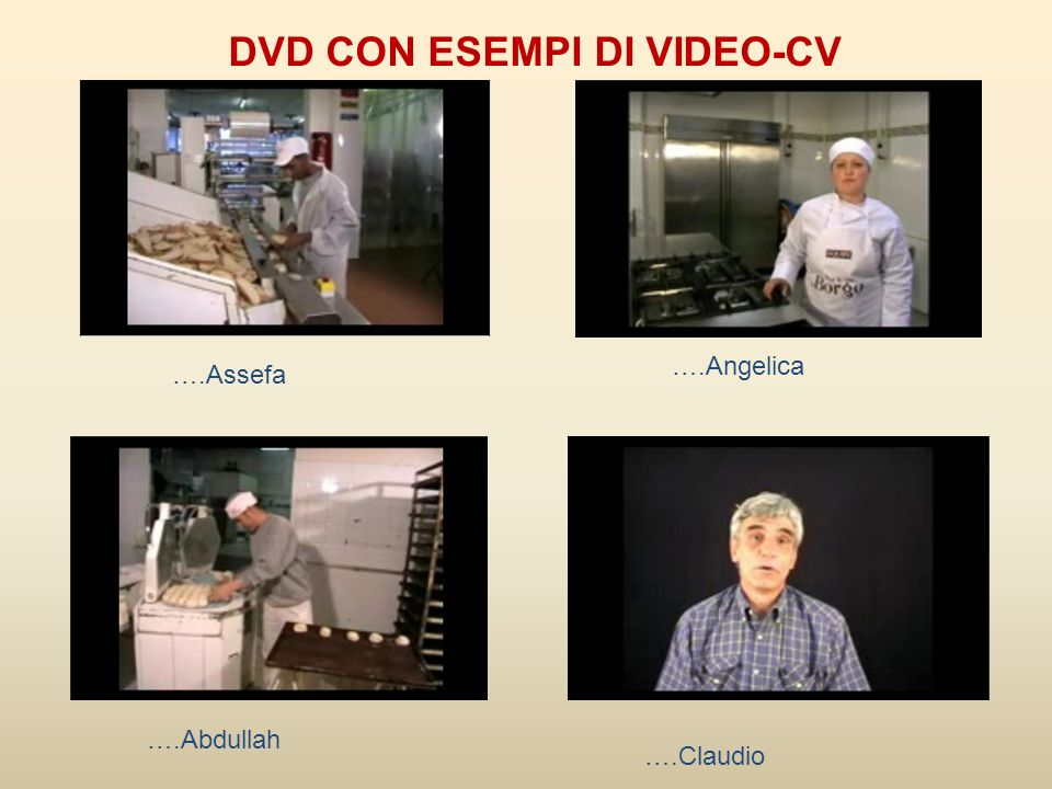 DVD CON ESEMPI DI VIDEO-CV