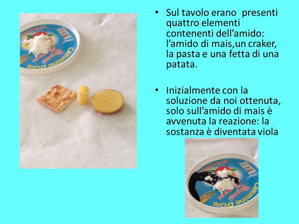 Sul tavolo erano presenti quattro elementi contenenti dell'amido: l'amido di mais,un craker, la pasta e una fetta di una patata.