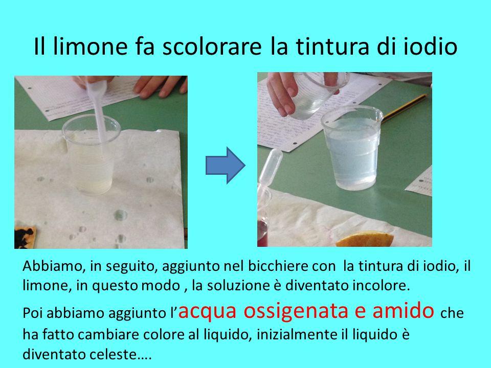 Il limone fa scolorare la tintura di iodio
