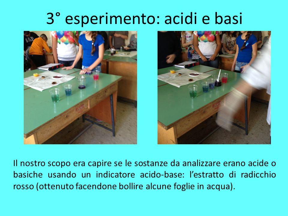 3° esperimento: acidi e basi