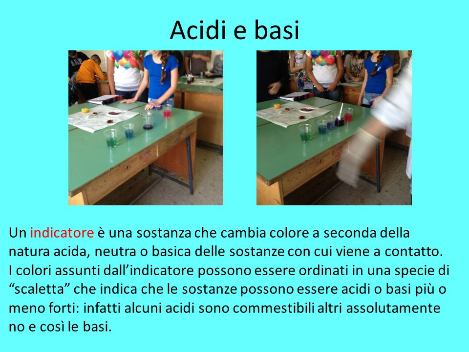 Acidi e basi Un indicatore è una sostanza che cambia colore a seconda della natura acida, neutra o basica delle sostanze con cui viene a contatto.