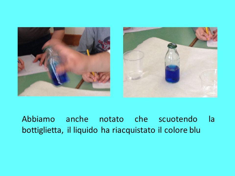 Abbiamo notato che scuotendo la bottiglietta ,il liquido ha riacquistato colore