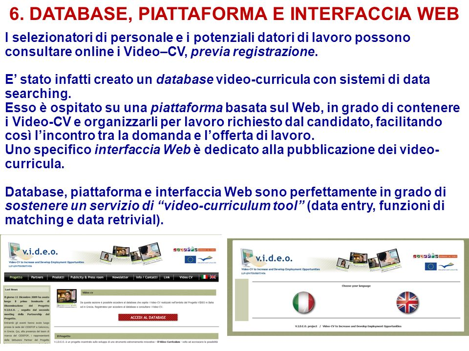6. DATABASE, PIATTAFORMA E INTERFACCIA WEB