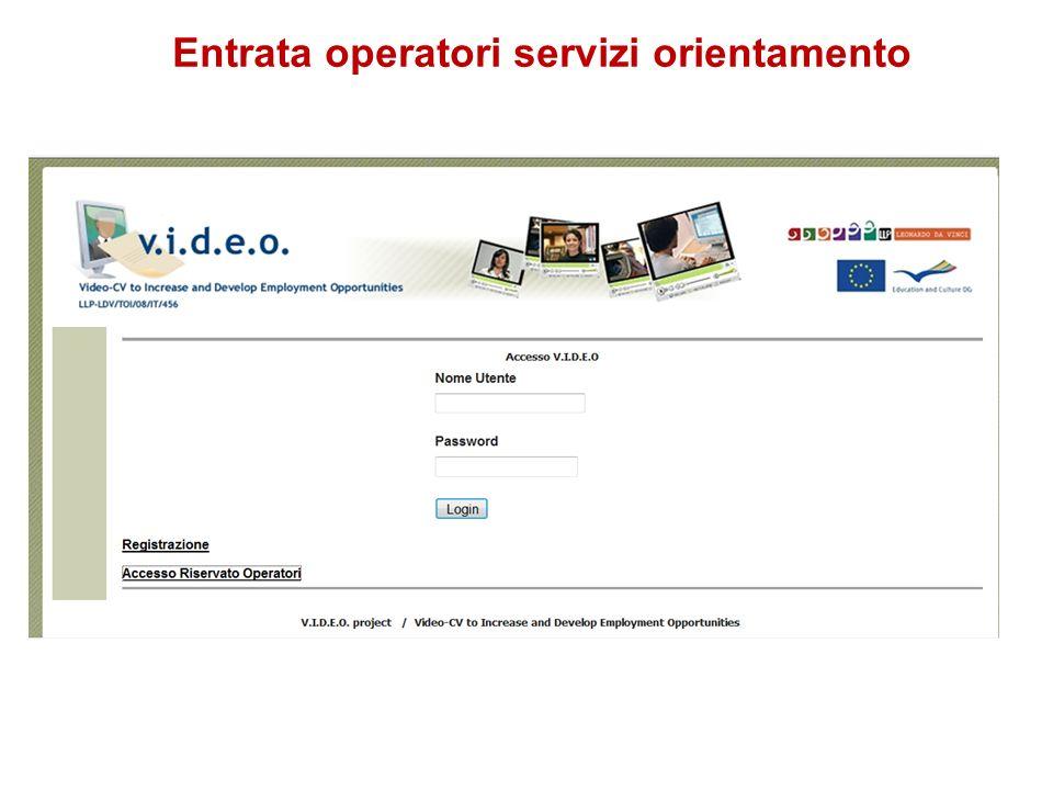 Entrata operatori servizi orientamento