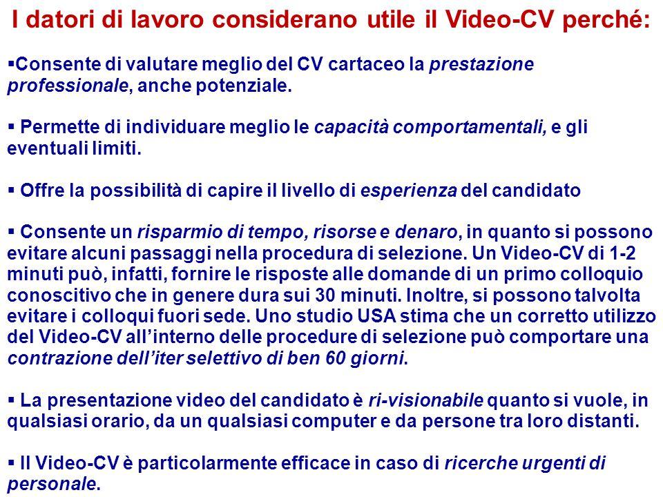 I datori di lavoro considerano utile il Video-CV perché: