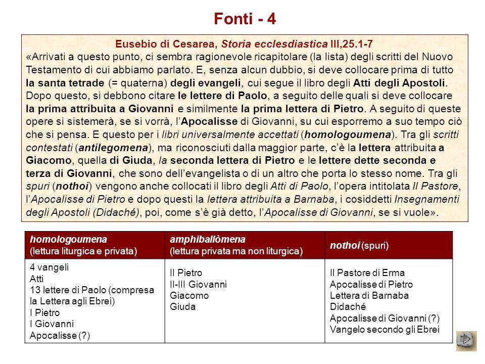 Eusebio di Cesarea, Storia ecclesdiastica III,25.1-7