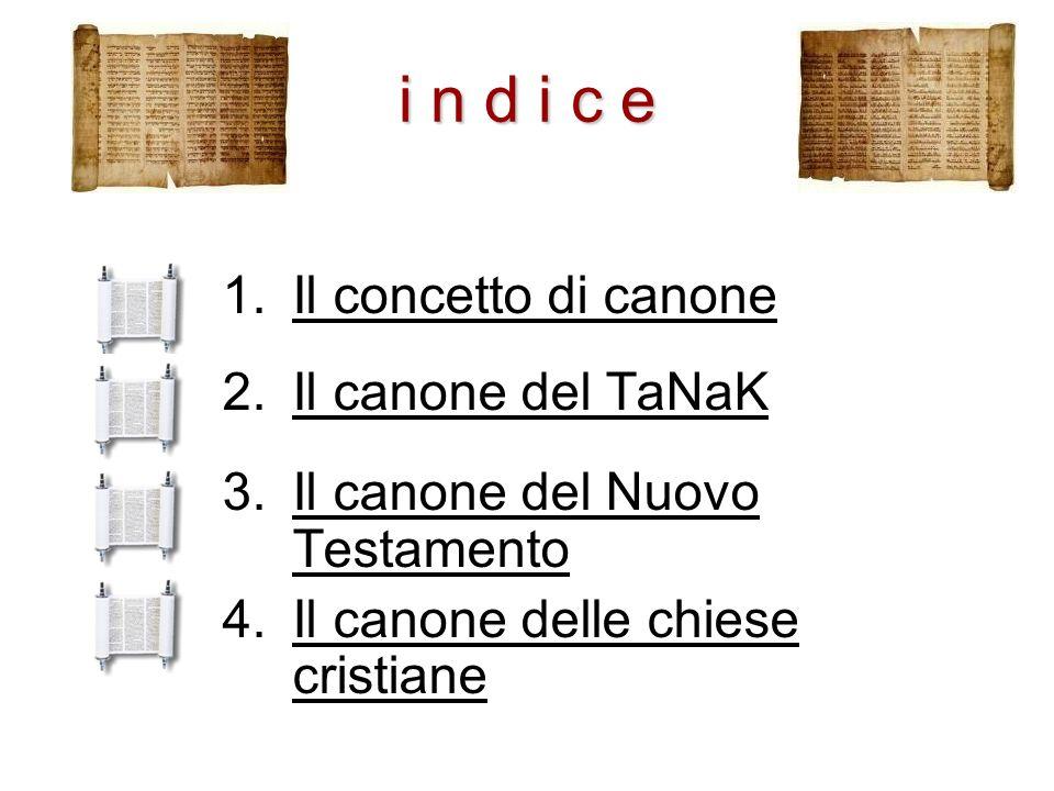 i n d i c e Il concetto di canone Il canone del TaNaK