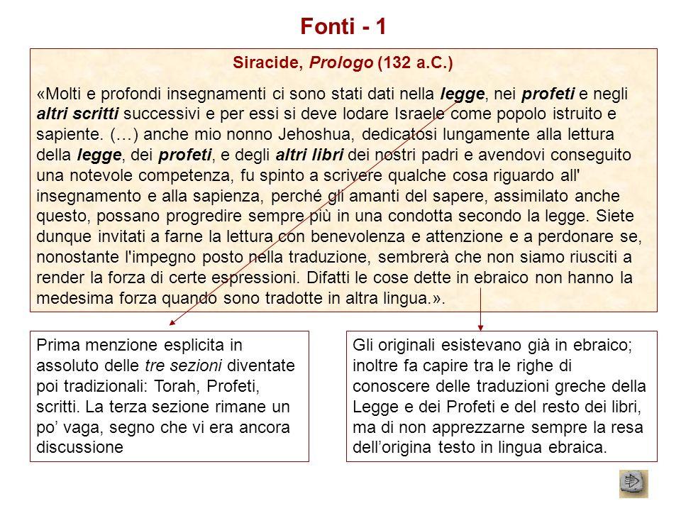 Fonti - 1 Siracide, Prologo (132 a.C.)