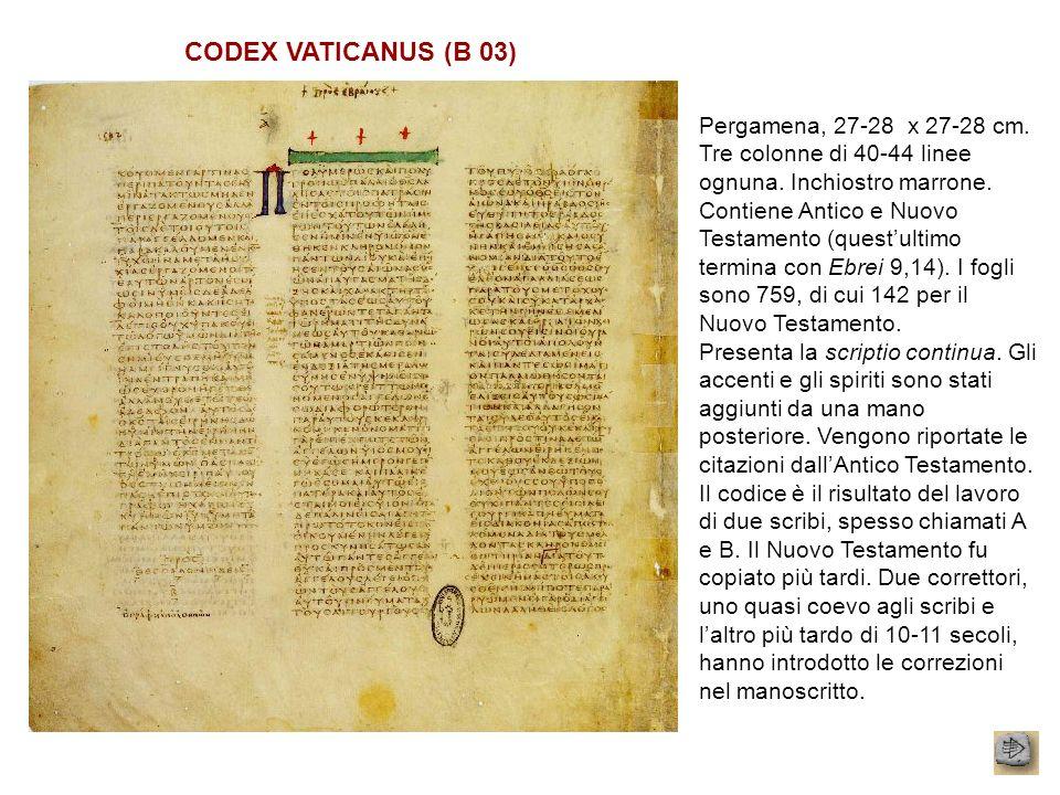 CODEX VATICANUS (B 03) Pergamena, 27-28 x 27-28 cm. Tre colonne di 40-44 linee ognuna. Inchiostro marrone.