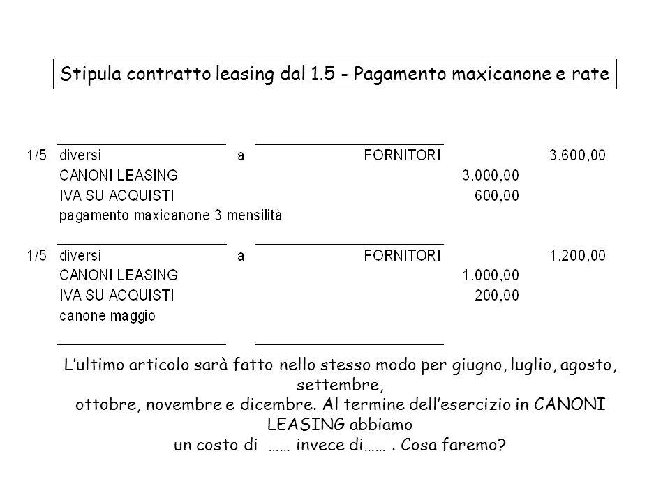 Stipula contratto leasing dal 1.5 - Pagamento maxicanone e rate
