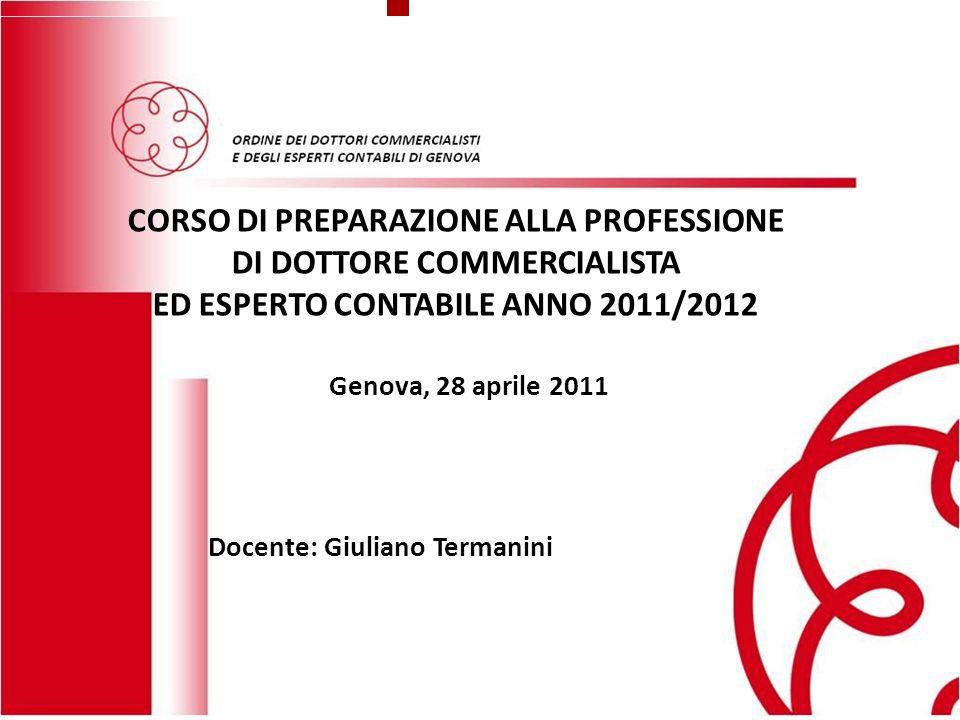 CORSO DI PREPARAZIONE ALLA PROFESSIONE DI DOTTORE COMMERCIALISTA